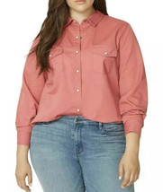 Sanctuary Work Shirt Plus Size 2X Button Down Long Sleeve Salmon Pink Co... - €26,07 EUR