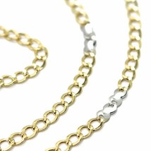 18K YELLOW WHITE GOLD CHAIN 3 MM, 19.7 INCHES, ALTERNATE GOURMETTE AND INFINITE image 2
