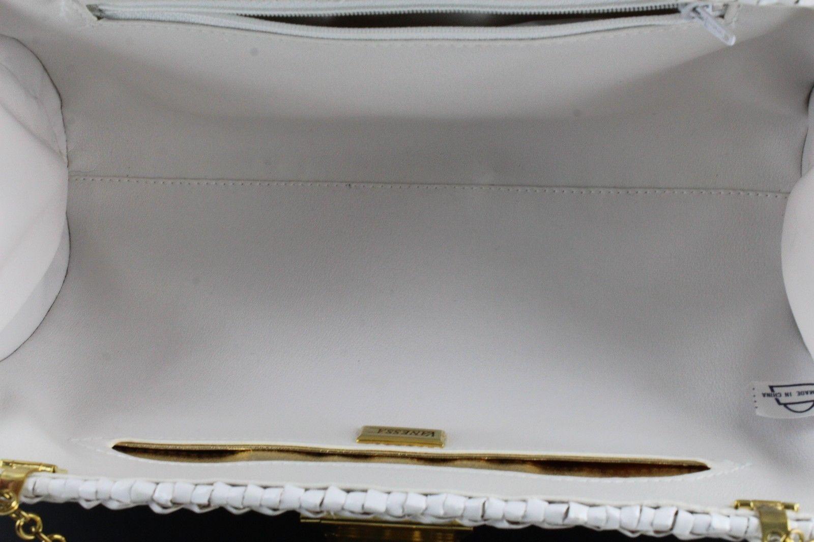 9089a373fe4c38 Vanessa White Woven Butterfly Wicker Rattan Handbag Retro Evening Shoulder  Purse