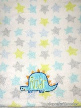 Baby Starters Dinosaur ROAR White Fleece STAR Blanket Lovey Boy Aqua Gray Green - $29.61