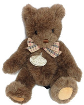Gund 1990 Collector's Classic Jointed Teddy Bear w/Tag Plush Plaid Bow 9... - $9.88