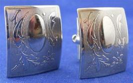 Vintage Cufflinks Silver Tone Metal Victorian Leaf Vine Design Rectangular - $3.00