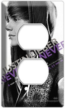 JUSTIN BIEBER NEVER SAY BLACK AND WHITE ELECTRICAL OUTLET COVER WALL PLATE - $9.99
