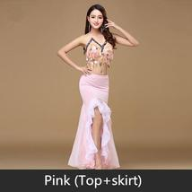 9 Colors Professional Belly Dancer Sequin Beaded Outfits Bra Belt Skirt image 7