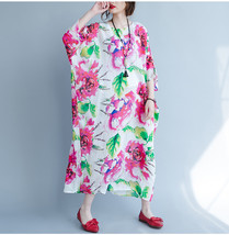 Plus Size Floral Maxi Dress Cotton Beach Dress Maternity Dress crop sleeve NWT image 6