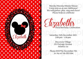 Classic Minnie Mouse Printable Birthday or Baby Shower Invitation: Custom - $9.99
