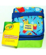 Igloo Sandwich Keeper Bag Lunch Box Bag  Blue/Green Hamburgers + Fries C... - $7.83