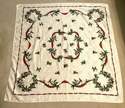 "Vintage Damask Christmas Tablecloth, Ivory 52"" Square - $23.74"