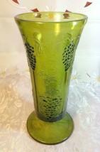"Indiana Glass Colony Grapes & Leaves Avocado Green Vase 9 5/8"" tall"