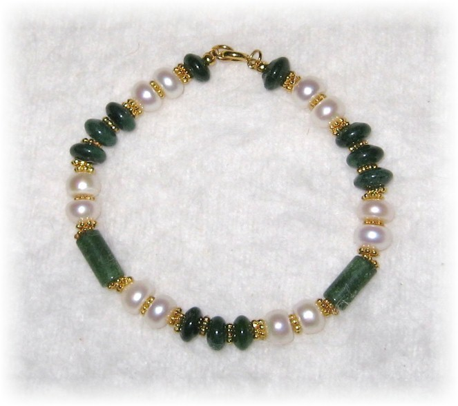 jade and pearl beaded bracelet bracelets