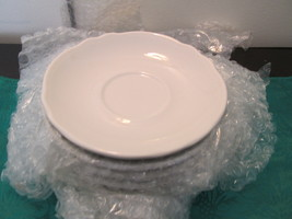 Vintage Homer Laughlin Restaurant Ware Nine Saucers With Scalloped Edge- FFB- - $35.00