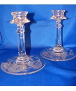 Fostoria Crystal Morning Glory Candleholders (Pair) - $29.00