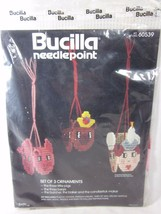 Bucilla Christmas Needlepoint 3 Ornaments 3 Little Pigs 3 Bears Butcher Sealed - $10.89