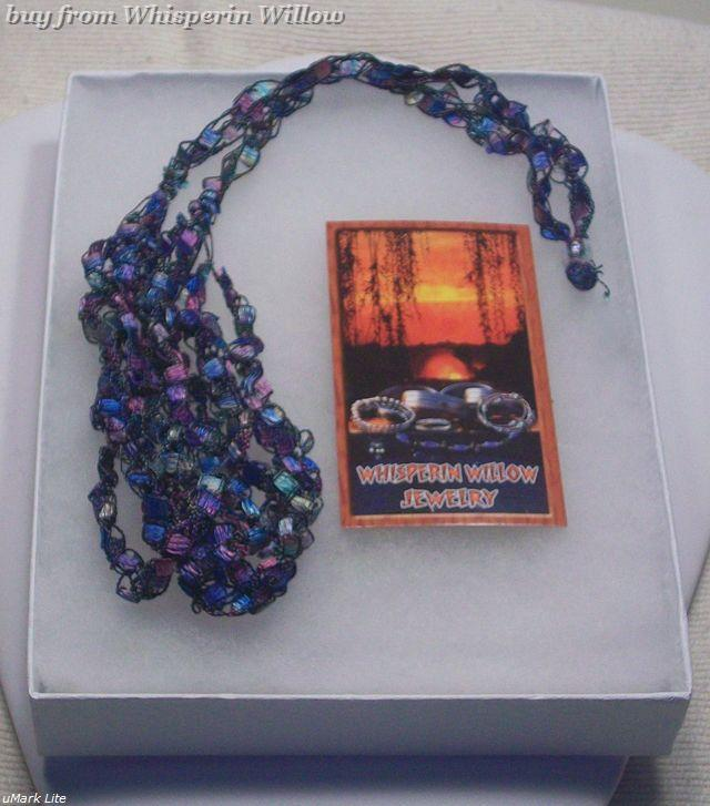 Crocheted Trellis Ladder Ribbon Yarn Necklace 1