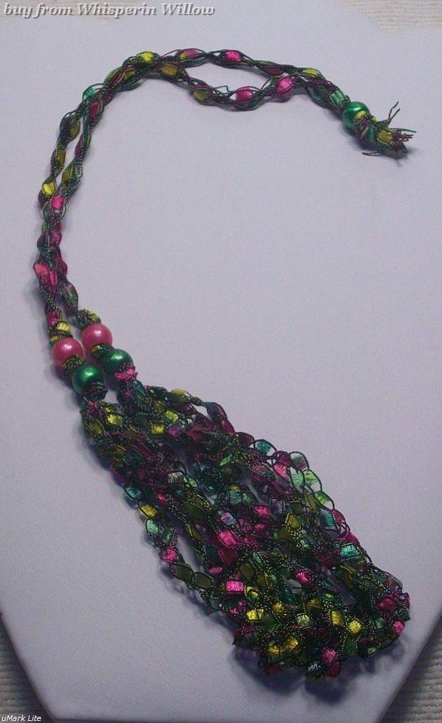 Crocheted Trellis Ladder Ribbon Yarn Necklace 2