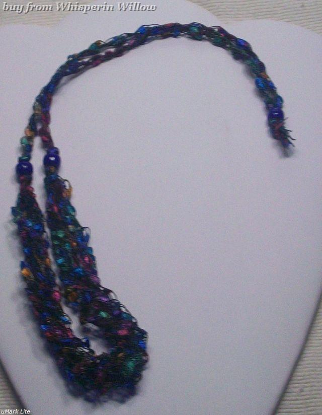 Crocheted Trellis Ladder Ribbon Necklace 7