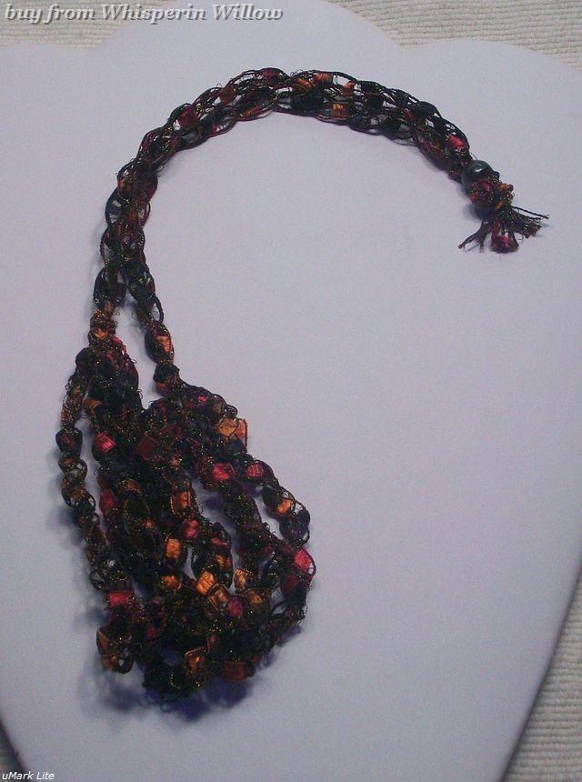 Crocheted Trellis Ladder Ribbon Necklace 9