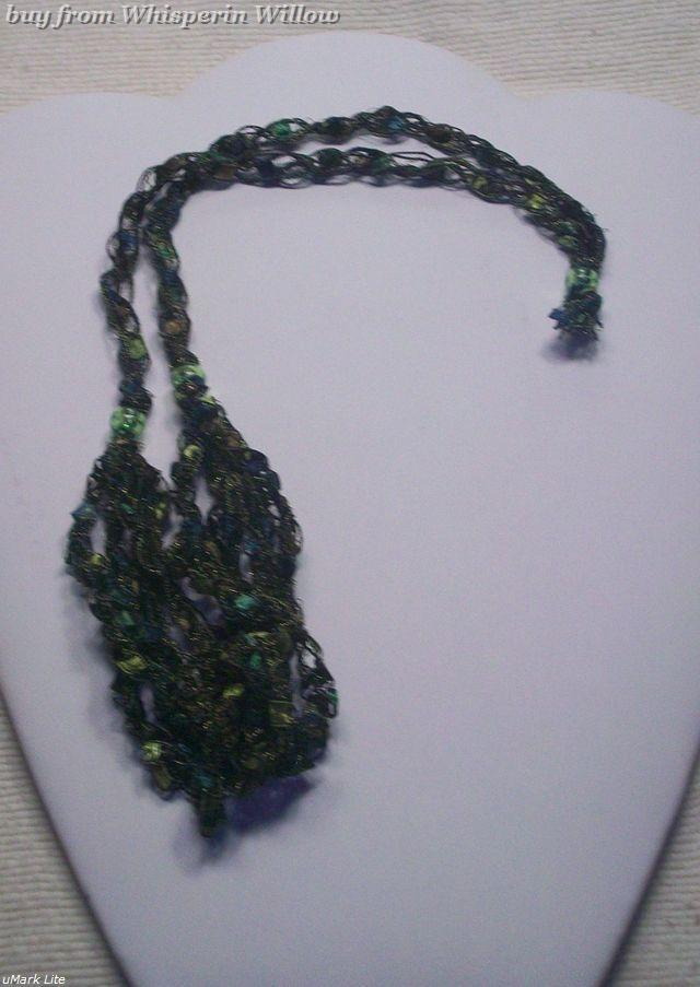 Crocheted Trellis Ladder Ribbon Necklace 10
