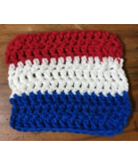Red White And Blue Striped Handmade Crochet Dish Cloth - Americana - $3.00