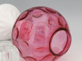 Vintage 1940s Fenton Art Glass Cranberry Milk Glass Coin Dot Ivy Vase image 4