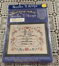 Brand New Embroidery Kit 145 Needles N Hoops 14 x 17 Wedding Sampler  4 ... - $11.49