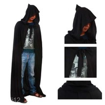 Novelty Cloak Adult Black Hooded Cape Medieval Renaissance Costume Fancy... - $7.63