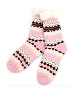 Urban-Peacock Plush Knitted Fleece Sherpa Lined Slipper Socks-Pink w/ Cr... - $10.95