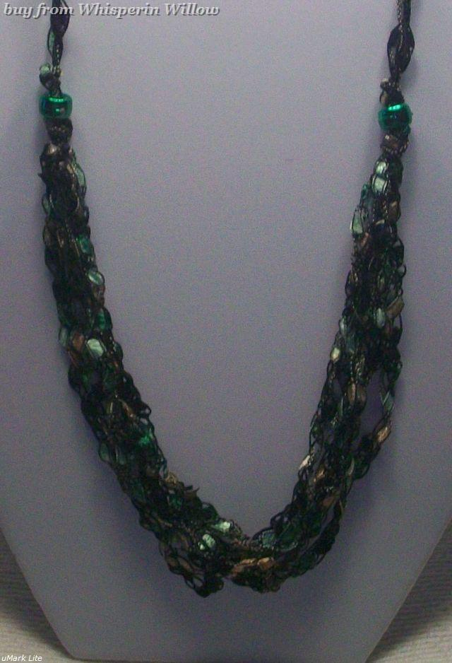 Crocheted Trellis Ladder Ribbon Necklace 11