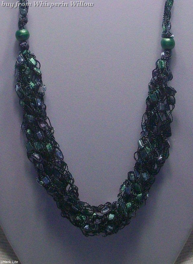 Crocheted Trellis Ladder Ribbon Necklace 12