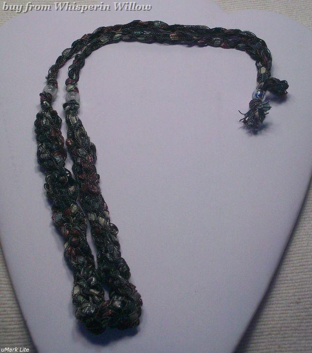 Crocheted Trellis Ladder Ribbon Necklace 14