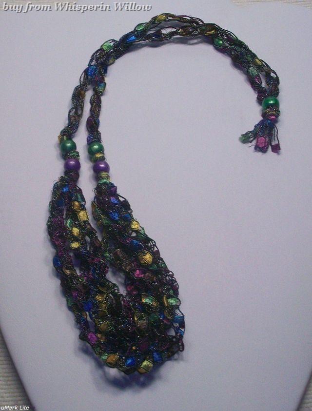 Crocheted Trellis Ladder Ribbon Necklace 15