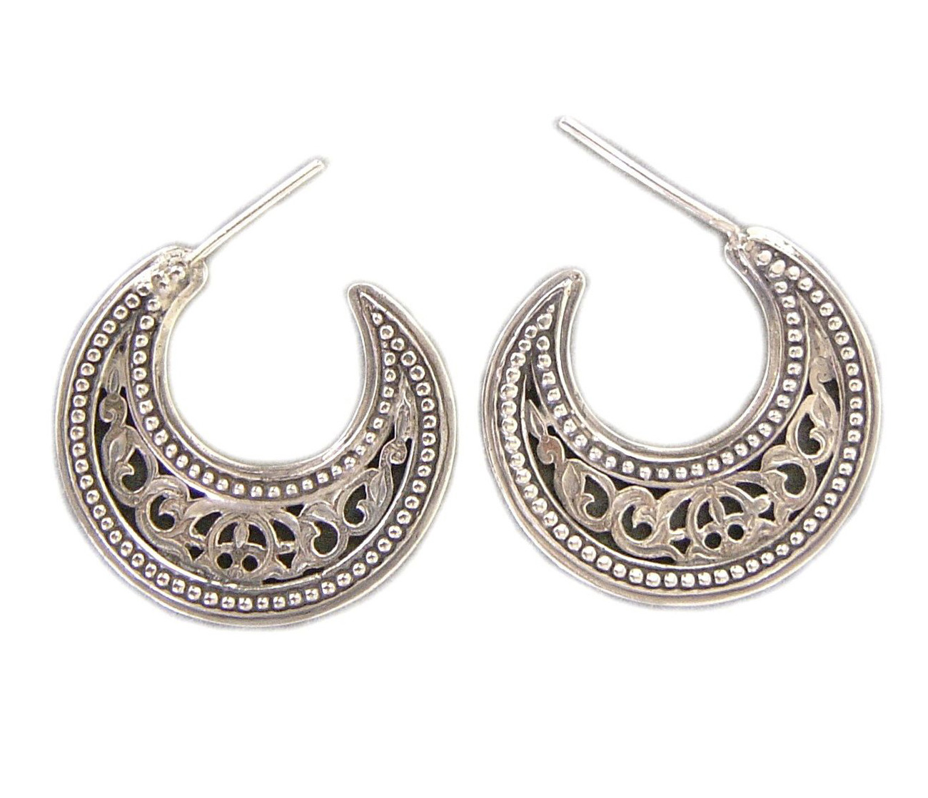 Primary image for Gerochristo 1162 - Sterling Silver Medieval-Byzantine Crescent Earrings - S