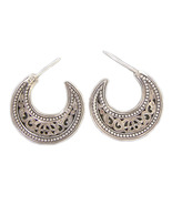 Gerochristo 1162 - Sterling Silver Medieval-Byzantine Crescent Earrings ... - $88.00