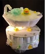 Yellow Ducky Baby Shower Gift Bathtub Diaper Cake  - $52.00