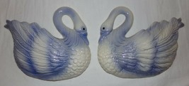 Vtg Ceramic Swan Wall Pockets 2 pcs Blue Holland 1990 Vintage Decoration... - $27.15