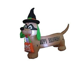 4 Foot Long Halloween Inflatable Dog with Witch Hat and Mask Yard Decora... - $59.00