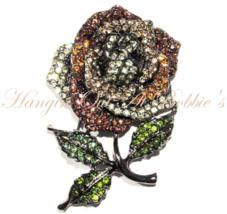 Rose Flower Pin Brooch Brown Olive Multicolor Crystal Pewter Tone Metal ... - $34.99