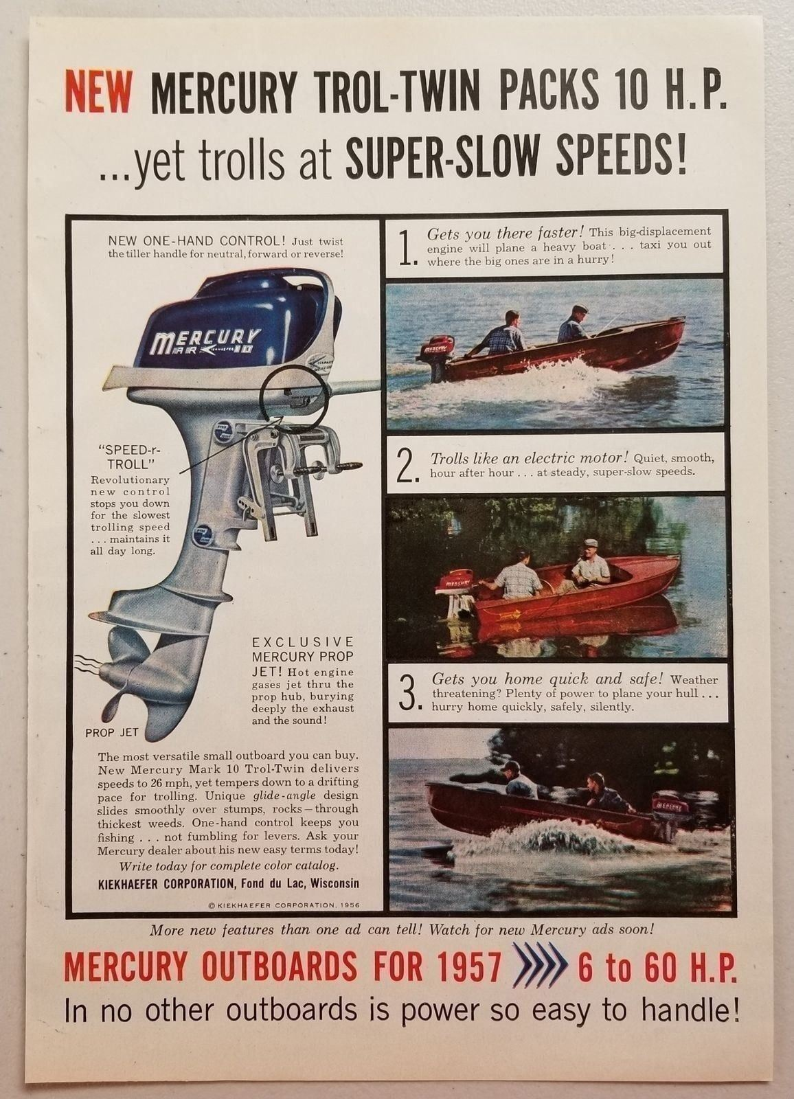 Primary image for 1956 Print Ad Mercury Trol-Twin 10 HP Outboard Motors Men Fishing Fond du Lac,WI