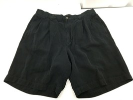 Tommy Bahama Mens Shorts Black Pleated Front 100% Silk Relaxed Fit Size 32 - $17.08