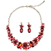 Hamer Women's Red Handmade Crystal Choker Flowers Statement Necklace Gold - $25.41
