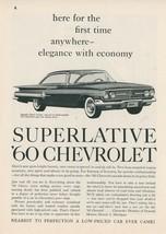 1960 Chevrolet Auto Ad Chevy Impala Sport Coupe Elegance with Economy Vintage - $10.00