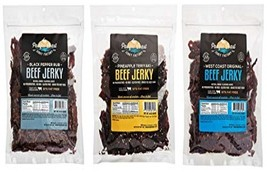 Pacific Coast Jerky Factory Grass Fed Variety 3 -1 # Bags (97% Fat Free, No MSG) - $89.99