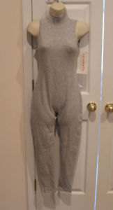 NWT  carabella gray turtle neck sleeveless unitard  made in USA MEDIUM