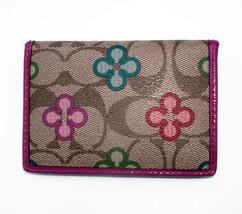 Coach Peyton Signature Clover Card Case F63758 Mini Wallet Khaki Pink - $35.00