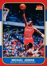 MICHAEL JORDAN Signed Chicago Bulls Fleer Rookie Card Blow Up 12.5X17.5 ... - $1,777.05