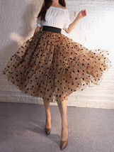 Emerald Green Polka Dot Tulle Skirt A-line Emerald Green Tulle Midi Skirt Outfit image 12