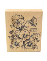 Retired PSX K774 PANSY BOTANICAL Violaceae 1993 Wood Mounted Rubber Stamp - $36.00