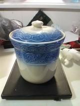 Longaberger Pottery Cookie Jar - Blue on Ivory - $64.35