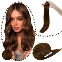 RUNATURE Tape In Real Human Hair Extensions 14 Inches Color 4 Human Hair Tape In