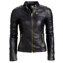 Women's Genuine Lambskin Leather Jacket Black Slim fit Motorcycle jacket-01